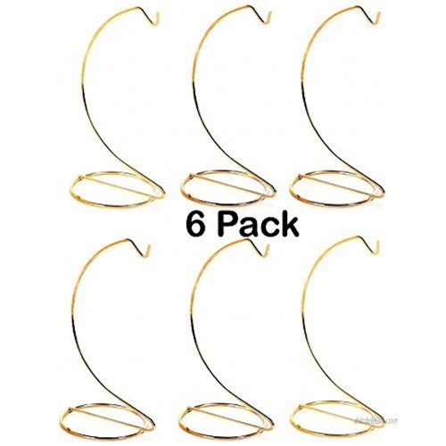 Creative Hobbies 10 Inch Tall Gold Metal Ornament Display Hanger Stands for Displaying Christmas Ornaments Glass Terrariums Etc.- Pack of 6 Stands