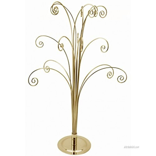 Creative Hobbies 20 Inch Tall Ornament Display Tree Bright Brass Plated Holds 15 Ornaments
