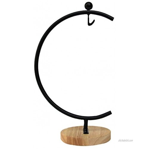 Ian Enterprises Ornament Display Stand Iron Pothook Stand for Hanging Glass Terrarium Picture Big G-Shaped Wood Base Black