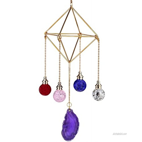 Yatming Geometric Metal Frame Air Plant Holder Hanging Ornament with Glass Ball & Purple Agate Slice Home Decoration for Plants Display Stand