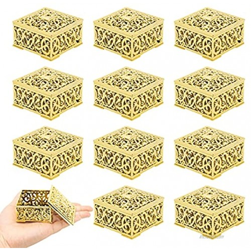 12 Pcs Candy Boxes Plastic Wedding Favor Boxes Candy Jars Candy Storage Boxes Gift Boxes for Wedding Baby Shower Christmas Birthday Party Decorating Ornament Container Gold