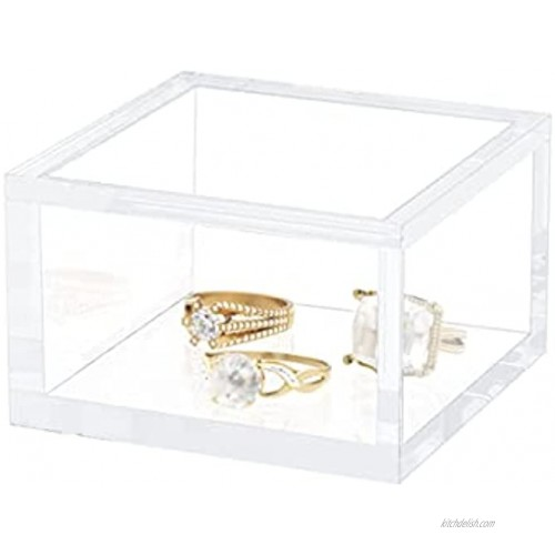 AITEE Small Acrylic Box with Lid Clear Cube Display Case Mult-Purpose Box Square Container for Holding Staples Highlighters Adhesive Tape Paper Clips Stamps Display in Office or Home Small