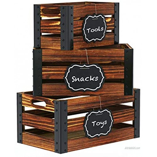 Greenstell Storage Crates Wooden Nesting Crates with Handles & Hanging Chalkboard Decorative Display Wall Mounted Rustic Accent Crate Box for Party Office Bedroom Kitchen Closet Set of 3 Brown