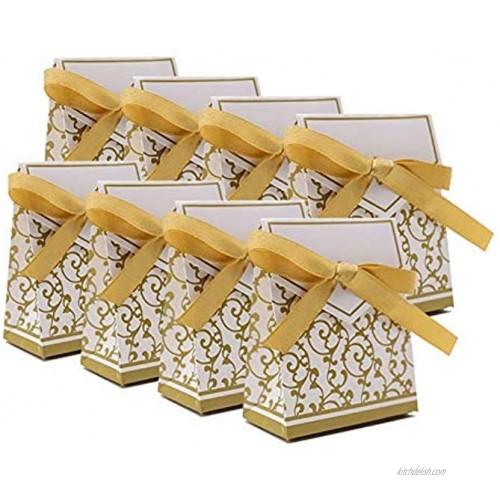 KUPOO 50PCS Candy Boxes,Gold Ribbon Wedding Favor Boxes Candy Bag Cake Box for Wedding Party Decoration Easter gold