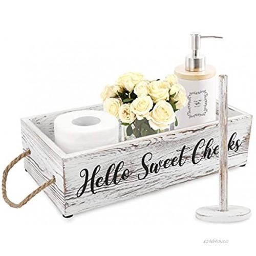 OurWarm Hello Sweet Cheeks Bathroom Decor Box Funny Toilet Paper Organizer Box with Paper Towel Holder for Bathroom Decor Toilet Paper Storage Basket Bathroom Organizer Funny Gift for Couple