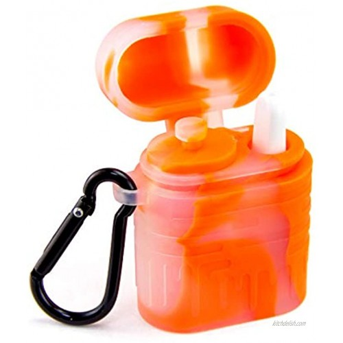 PILOTDIARY 2.3 Portable Mini Headphone Shape Storage Box Container with Clean Tool-Orange Perfect for Traveling,Camping Cycling Outdoor Activities