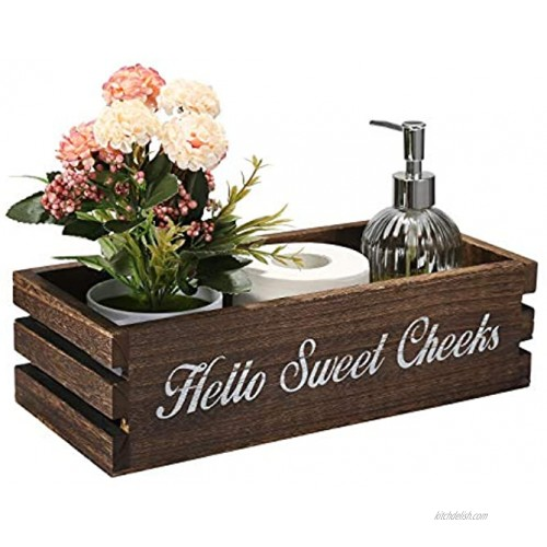 VOOWO Funny Bathroom Decor Box Toilet Paper Holder Toilet Paper Storage with Artificial Flower Ideal for Farmhouse Rustic Bathroom Decor