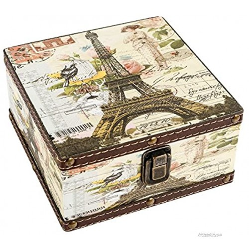 WaaHome Wood Jewelry Keepsake Box Memory Boxes Eiffel Tower Decorative Boxes For Girls Kids Gifts 6.4X6.4X3.2