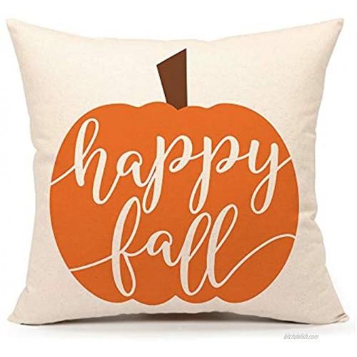 4TH Emotion Happy Fall Pumpkin Halloween Throw Pillow Cover Farmhouse Autumn Cushion Case for Sofa Couch 18x18 Inches Linen