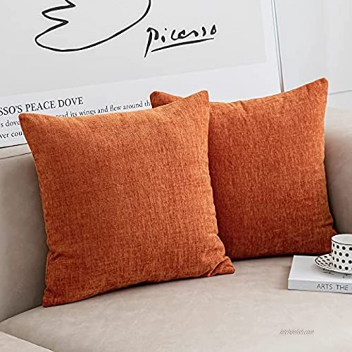 Anickal Burnt Orange Pillow Covers 18x18 Inch Set of 2 Modern Farmhouse Rustic Decorative Throw Pillow Covers Square Cushion Case for Living Room Home Sofa Couch Decoration