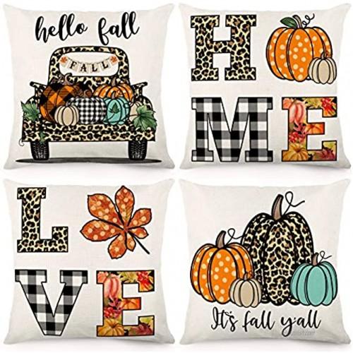 CDWERD Fall Pillow Covers 18x18 Inch Set of 4 Autumn Decorations Throw Pillowcase Pumpkin Leopard Print Farmhouse Linen Cushion Case for Thanksgiving Decorations Sofa and Home Decor
