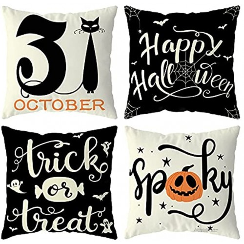 Halloween Decorations Pillow Covers 18x18 Set of 4 for Halloween Decor Indoor Outdoor Party Supplies Farmhouse Home Decor Throw Pillows Cover Spider Web Cat Pumpkin Ghost Decorative Cushion Case