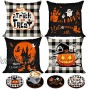 Set of 4 Happy Halloween Throw Pillow Covers 18 x 18 with 4 Bonus Coasters Buffalo Check Pumpkin Decorative Pillowcases Festive Ghost Bat Caster Trick or Treat Decorations for Farmhouse