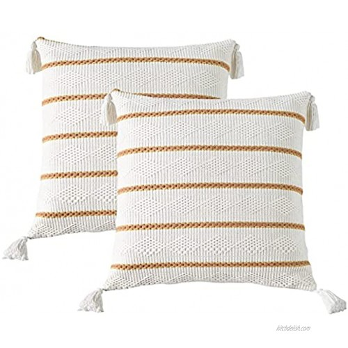 SIGOODS Set of 2 Boho Throw Pillow Covers Modern Stripe Geometric Farmhouse Decorative Pillowcases for Couch Sofa Bedroom Home Decor Square Cushion Pillow Case with Tassels 18x18 Inch