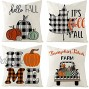 Tosewever Fall Pillow Covers 18x18 Set of 4 Buffalo Check Plaid Pumpkin Happy Y'all Thanksgiving Autumn Maple Leaf Decorations Pillow Cushion Case for Sofa Couch Bed Home Outdoor Car Black & White