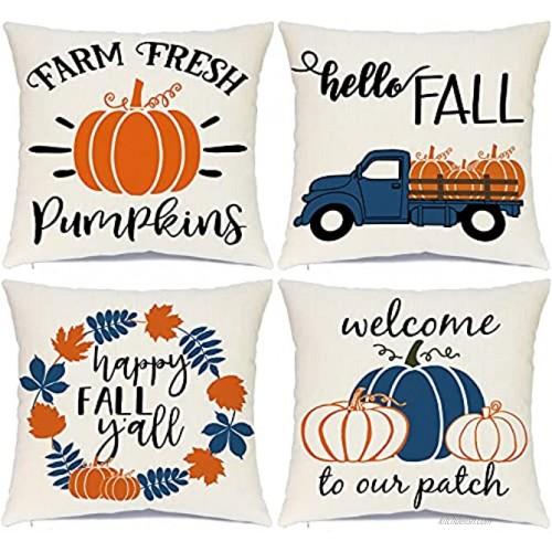 Ueerdand Fall Pillow Covers 18 x 18 Inches Fall Decorations Thanksgiving Autumn Theme Outdoor Pumpkin Patch Farmhouse Decorative Throw Pillowcase Linen Cushion Case for Home Decor Set of 4