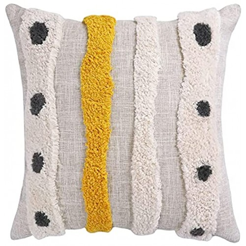 VANNCIO Boho Tufted Throw Pillow Cover with Handwoven Stripes Linen Cotton Simple Decorative Cushion Case for Couch Sofa 18x18 inches 1 PCMustard Yellow