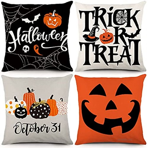 YGEOMER Halloween Pillow Covers 18x18 Set of 4 Trick or Treat Pumpkin Face Holiday Halloween Decoration Hug Throw Pillow Covers for Sofa Couch