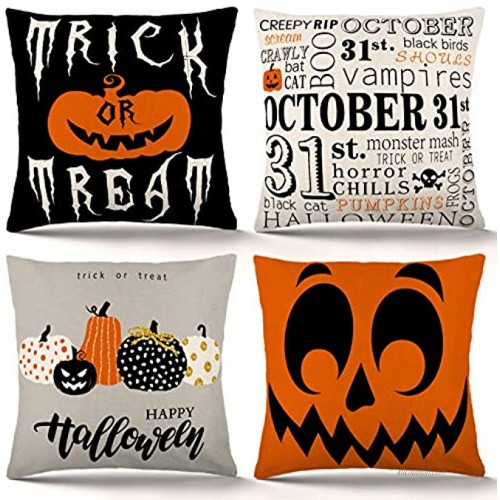 ZJHAI Halloween Pillow Covers 18x18 Inch Set of 4 Trick or Treat Pumpkin Pillow Covers Holiday Rustic Linen Pillow Case for Sofa Couch Halloween Decorations Throw Pillow Covers