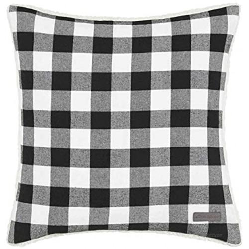 Eddie Bauer Home | Home Collection | 100% Fleece Signature Cabin Plaid Design Decorative Pillow Zipper Closure Easy Care Machine Washable 20-inch Pillow Black