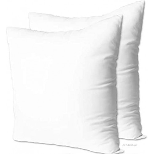 Fabornus Premium 18 x 18 Throw Pillow Inserts Set of 2 Hypoallergenic Square Form Decorative Pillows for Sofa Couch Bed and Chair 18 inches