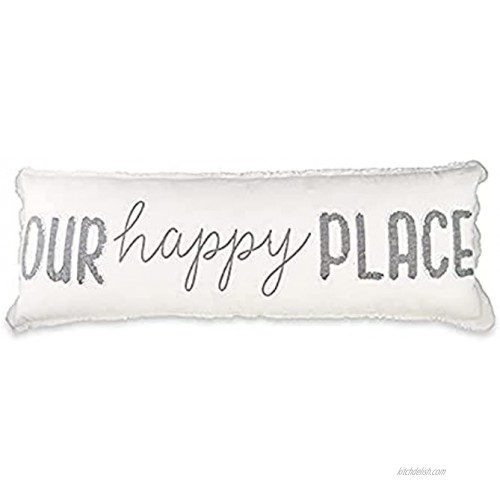 Mud Pie Our Happy Long Pillow 1 Count Pack of 1 White