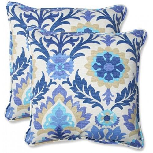Pillow Perfect Outdoor Indoor Santa Maria Azure Throw Pillows 18.5 x 18.5 Blue 2 Pack