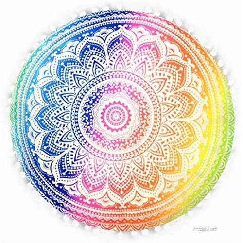 Emprelex 32 Inch Flower Mandala Floor Pillow | Hand-Printed Round Floor Cushion | Organic Cotton | Ideal for Living Room Bedroom and Yoga Room | Cover Only | Rainbow