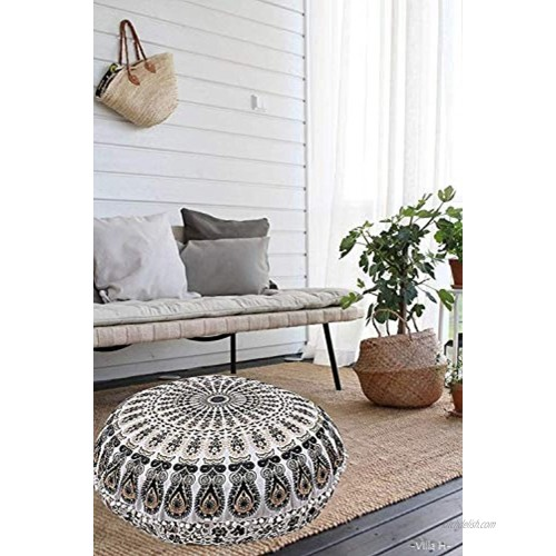 Hemsi-77 32 Inches Round Mandala Floor Pillow Throw Living Room Decor Round Seating Pouf Cover Mandala Floor Pillows Cushion Black Gold
