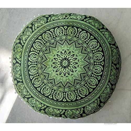 Hemsi-77 Floor Pillow Cover Decorative Mandala Pillow Sham Camel Indian Bohemian Ottoman Poufs Cover Pom Pom Pillow Cases Outdoor Cushion Cover