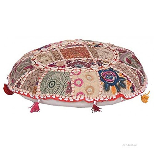 Indian Handmade Vintage Patchwork Cotton Boho Chic Bohemian Hand Embroidered Decorative Ethnic Foot Stool Round Floor Pillows & Cushion Cover Seating Pouf Ottoman Purple 32X32 Inches White