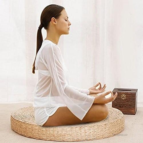 Tatami Floor Pillow Sitting Cushion,Round Pouf Tatami Chair Pad Straw Meditation Soft Yoga Mat Woven Straw Cushion 40cm