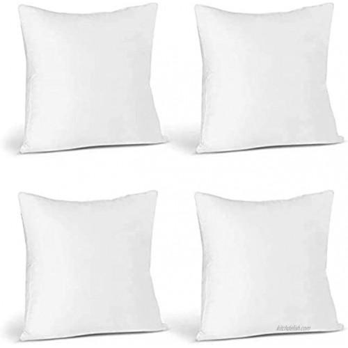 A1 Bhadiez 4 Pack 20 x 20 Premium Hypoallergenic Stuffer Pillow Inserts Sham Square Form Polyester 20 L X 20 W Standard White
