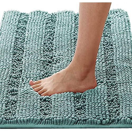 Bath Rugs for Bathroom Non Slip Bath Mats Extra Thick Chenille Striped Rug 20 x 32 Absorbent Non Skid Fluffy Soft Shaggy Washable Dry Fast Plush Mat for Indoor Bath Room Tub Eggshell Blue
