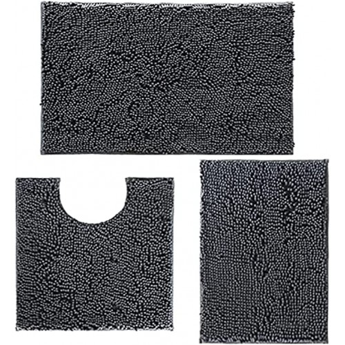 Bathroom Rugs and Mats 3 Pieces Luxury Chenille Bath Mats Set Anti-Slip Bath Rugs with Soft Plush PVC Backing Machine Washable Water Absorbent Carpet 1'' Quick Dry Microfiber Toilet Mat Deep Gray