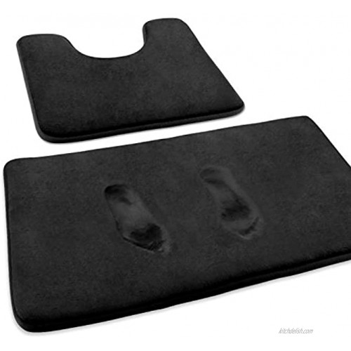 FEELSO Memory Foam Bath Mat Set Extra Soft 2 Piece Bathroom Rugs Non Slip and Absorbent Mats 20x31 Inches Floor Mat 20x20 Inches U-Shaped Contour Rug for Tub Shower & Bath Room Black
