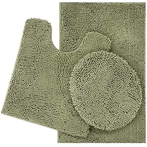 ITSOFT 3pc Non-Slip Shaggy Chenille Bathroom Mat Set Includes 24 x 21 Inches U-Shaped Contour Toilet Rug 34 x 21 Inches Bathmat and 1 Toilet Lid Cover Sage Green