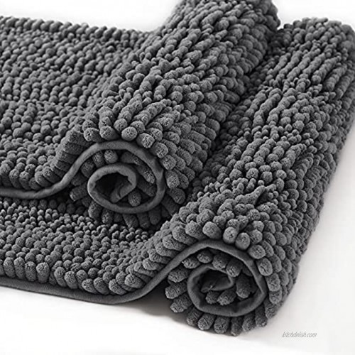 RYB HOME Bath Rugs Non Slip Water Absorbent Bath Mat Soft Chenille Bathroom Shower Rug Set Machine Washable for Bedroom Living Room Kitchen Gray W 20 x L 32 + W 17 x L 24 2 Pcs