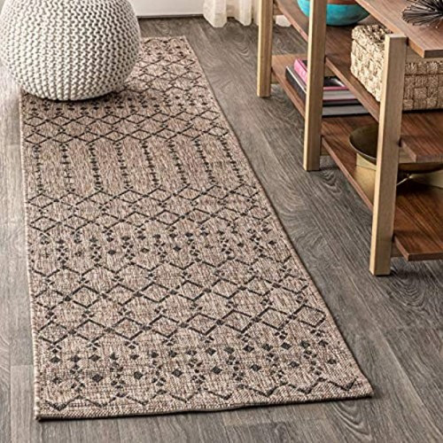 JONATHAN Y Ourika Moroccan Geometric Textured Weave Indoor Outdoor Natural 2 ft. x 8 ft. Runner Rug Bohemian,EasyCleaning,HighTraffic,LivingRoom,Backyard Non Shedding
