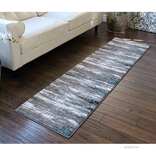 Masada Rugs Stephanie Collection Area Rug Modern Contemporary Design 1102 Grey White Black Turquoise Accent 2 Feet X 7 Feet 3 Inch Runner