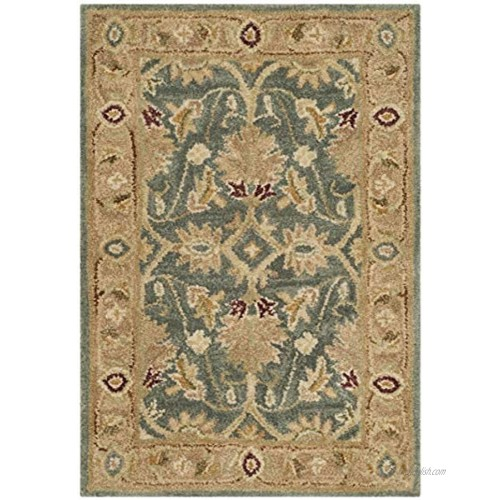 Safavieh Antiquity Collection AT849B Handmade Traditional Oriental Premium Wool Accent Rug 2' x 3' Teal Blue Taupe