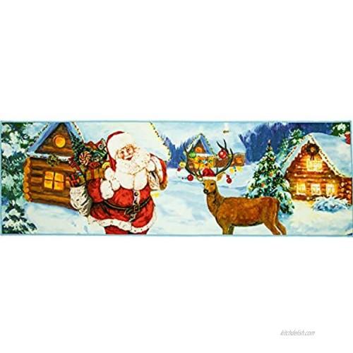 Softlife Christmas Santa Claus Decor Rug 24 x 72 inch Entrance Indoor Doormat Welcome Runner Rug for Bedroom Playroom Fireplace Front Door Xmas Party Home Decorative Floor Carpet