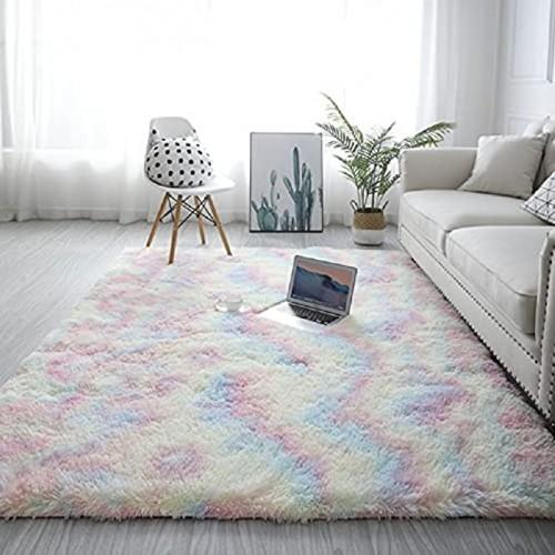 Soft Fluffy Bedroom Rugs 4 x 6 Feet Indoor Shaggy Plush Area Rug for Boys Girls Kids College Dorm Living Room Home Decor Floor Carpet Grey 5' x 8' Rainbow