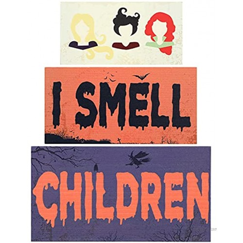3 Pieces Halloween Table Decor Sign I Smell Children Witches Tiered Tray Decor Rustic Wood Block Plaque Tabletop Freestanding for Halloween Party Dinner Coffee Table Topper Tier Tray Room Decor