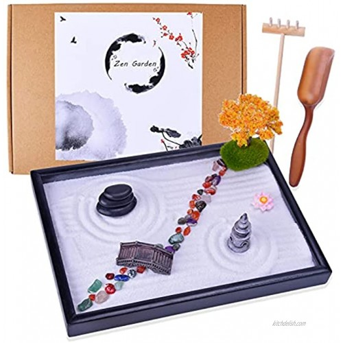 Japanese Zen Garden Kit Mini Garden with Rock Bridge PagodaMaple Trees Agate Stones Meditation Gift Set for Relaxation Home & Office Desk Decor with Rake Tools and Zen Accessories