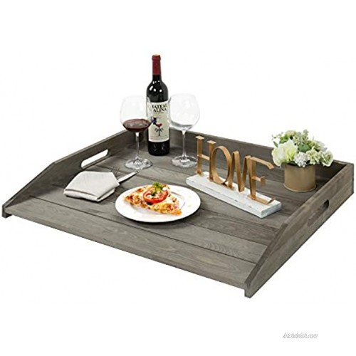 MyGift Vintage Gray Solid Wood Jumbo Sized Stove Top Cover and Countertop Tray Noodle Board with Cutout Handles