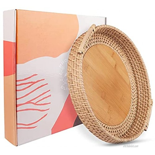 PROJECT DLIGHT Coffee Table Tray Round Bamboo Rattan Woven Serving Tray with Handles Wicker Decorative Tray for Boho Home Decor 11.8 inch Diameter  30 cm