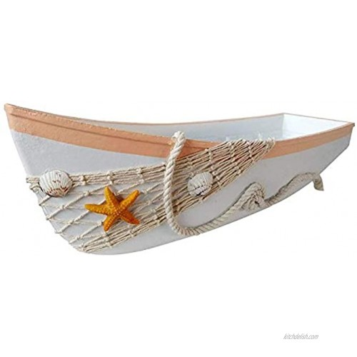 """WHY Decor White Wooden Boat Tray Decor with Starfish Shells Net Rope Decorative Nautical Boat Ornament Decor Wood Boat Tray Decorations Beach Theme Home Bathroom Decor 16.9"""""""