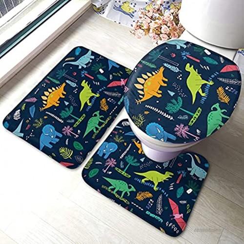 Cute Dinosaur Area Rug Bathroom Rugs Sets 3 Piece Non Slip Bath Mat U-Shaped Contour Mat and Toilet Lid Cover