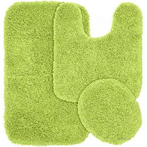 Garland Rug 3-Piece Jazz Shaggy Washable Nylon Bathroom Rug Set Lime Green